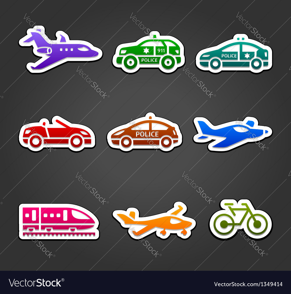 Set of sticky stickers transport color pictograms