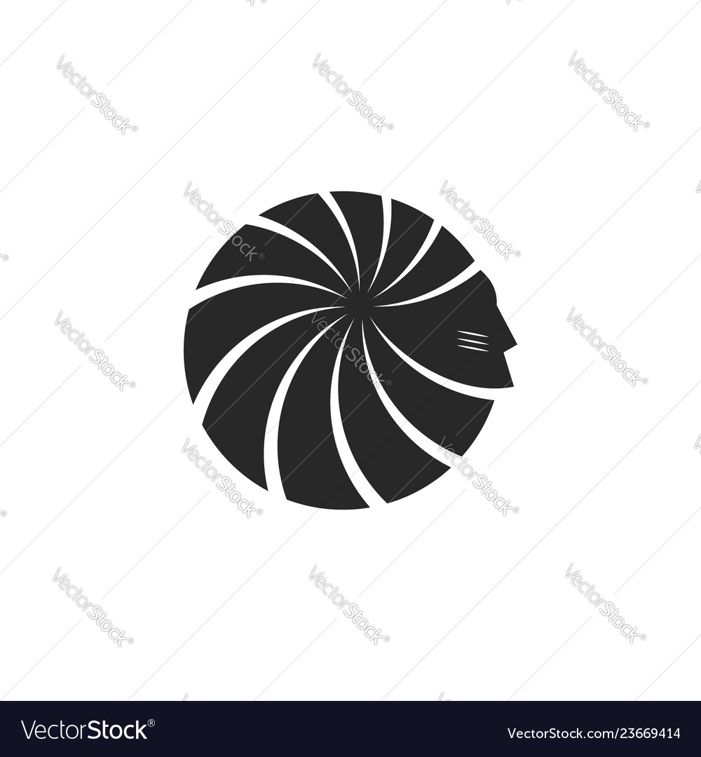 Silhouette of head american indian face logo male