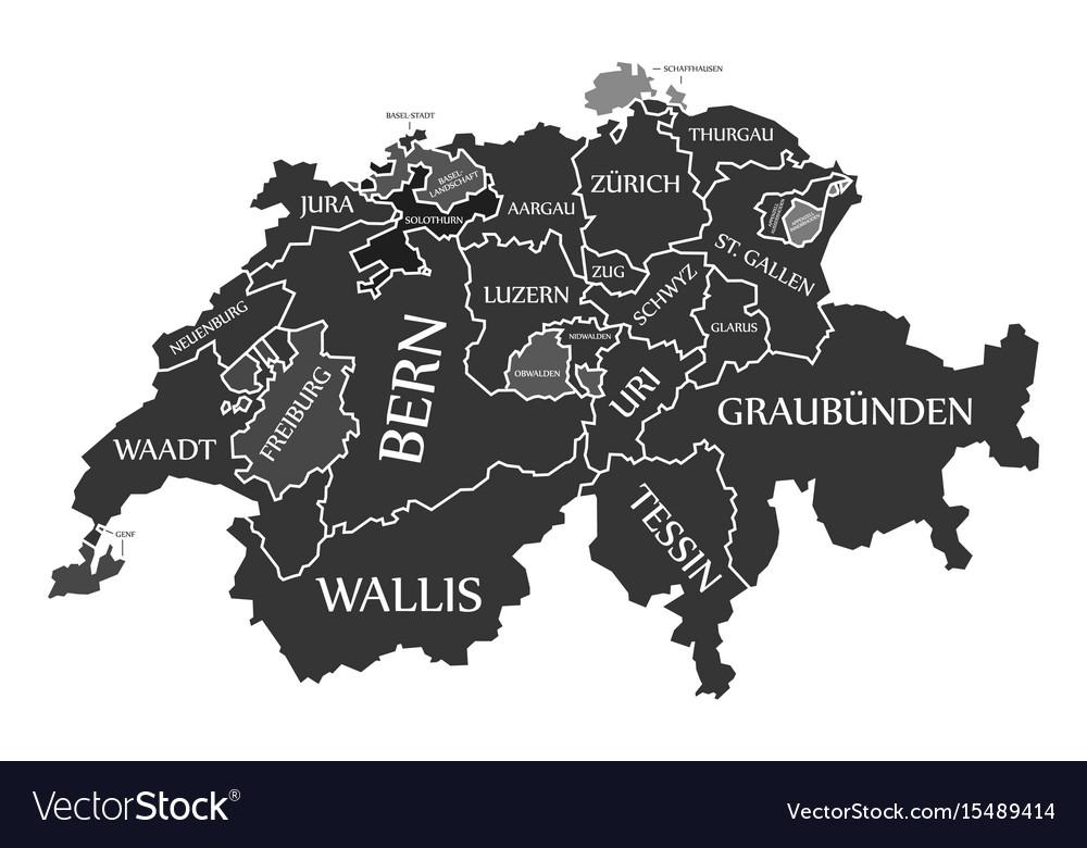 Switzerland map labelled black in german language Vector Image