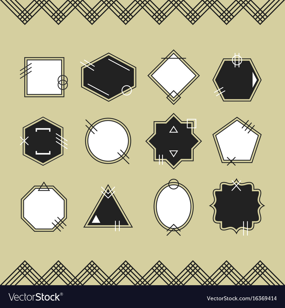 Trendy black and white line blank emblems set