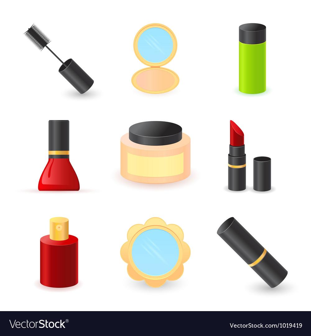 Beautiful ladys cosmetics icons vector image