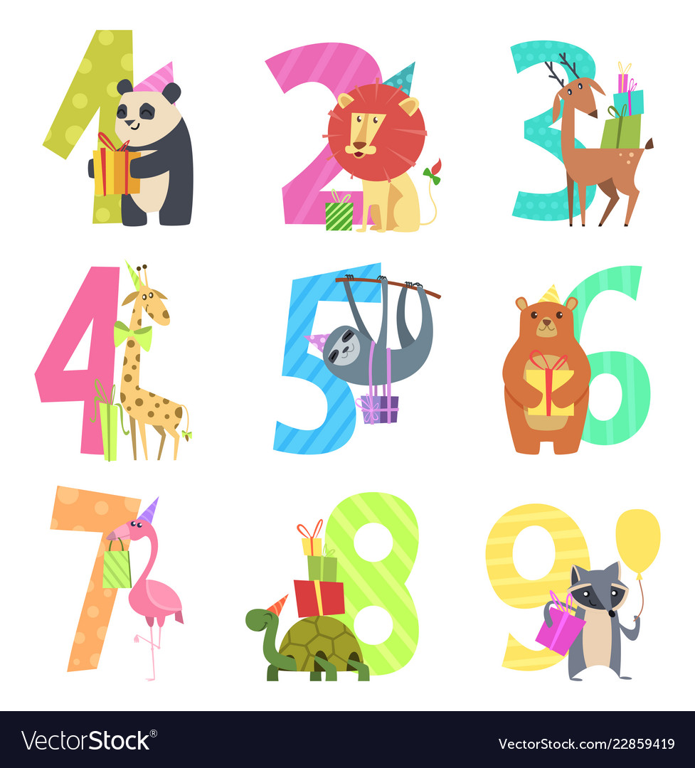 Birtday numbers animals party fun invitation for