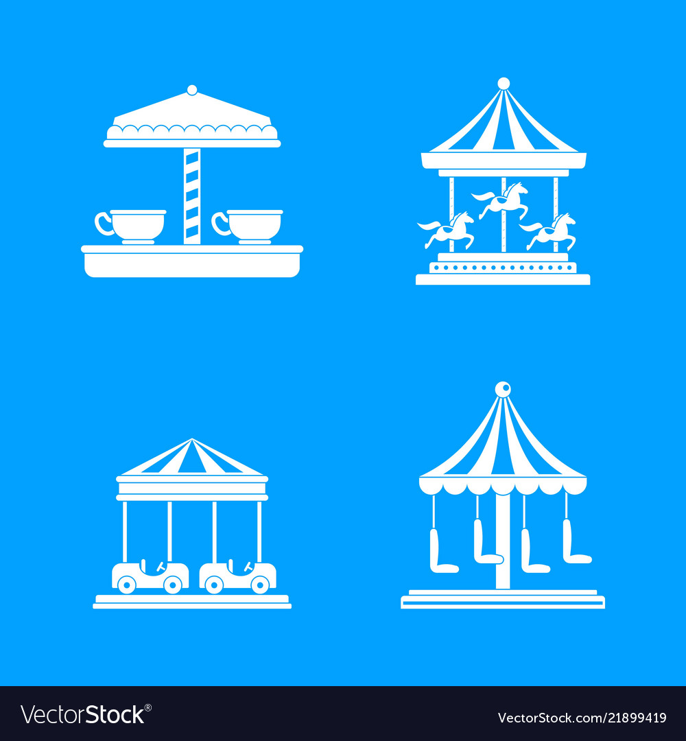 Carousel carnival horse icons set simple style