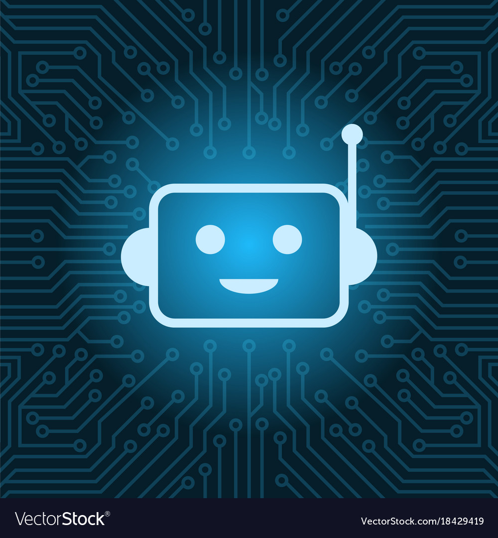 Chat bot face icon smiling robot over blue circuit