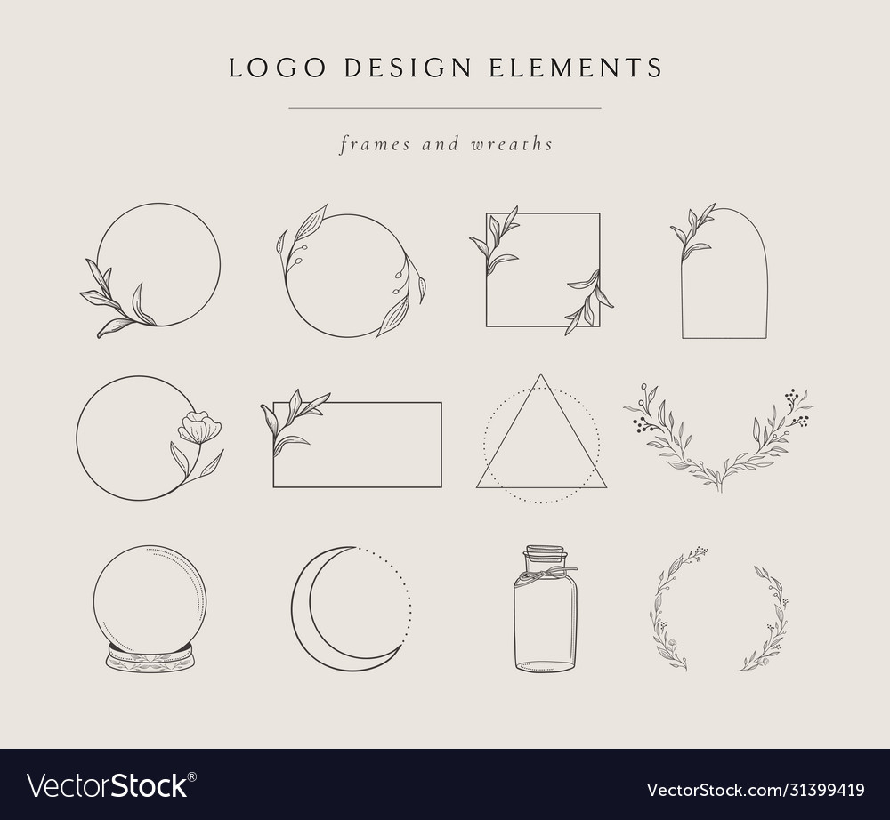Collection hand drawn logo element frames