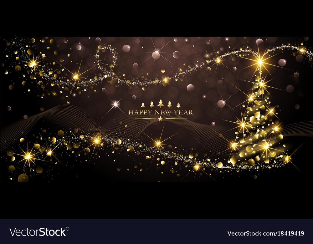 Greeting Card Golden Christmas Tree