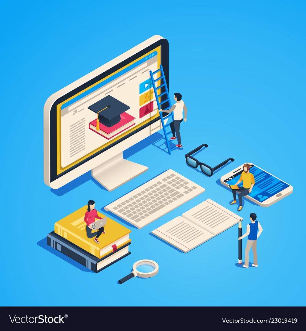 Isometric online teaching internet classroom