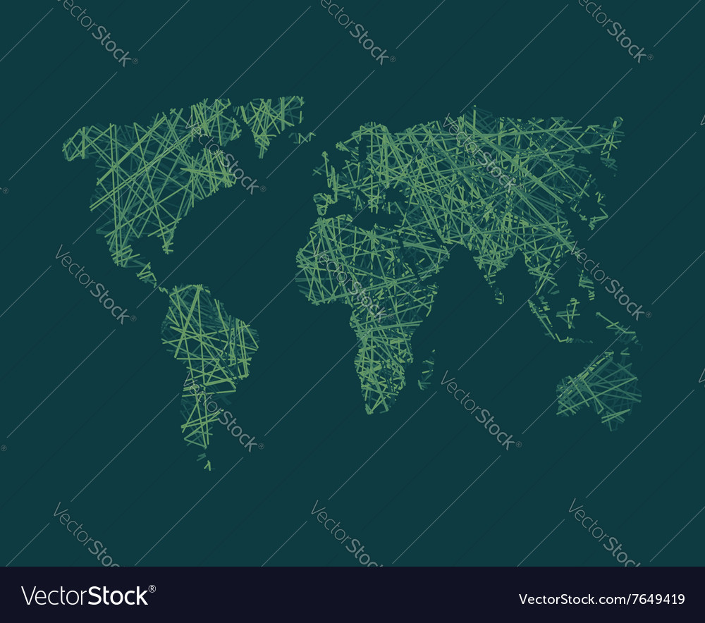 Map of World network Continents of planet Earth