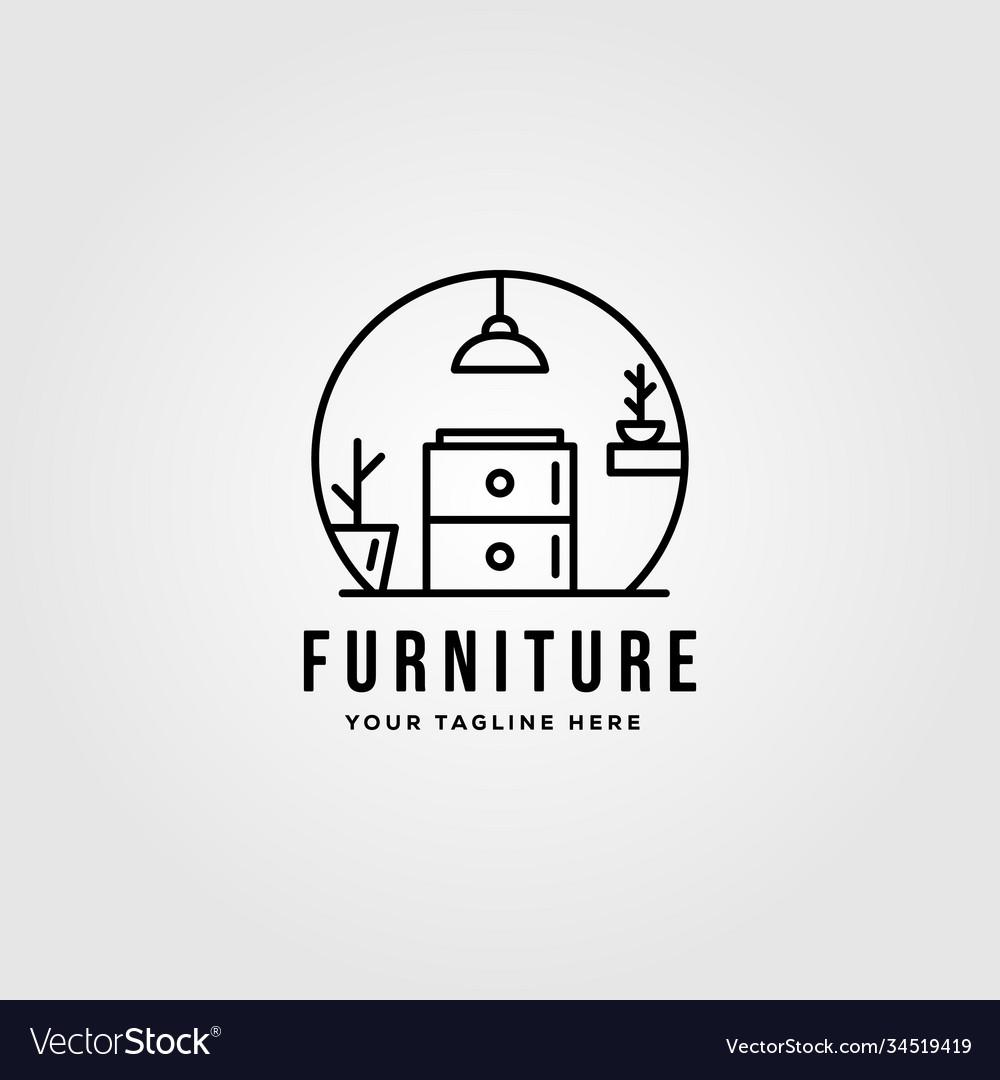 Minimalist furniture logo design line art