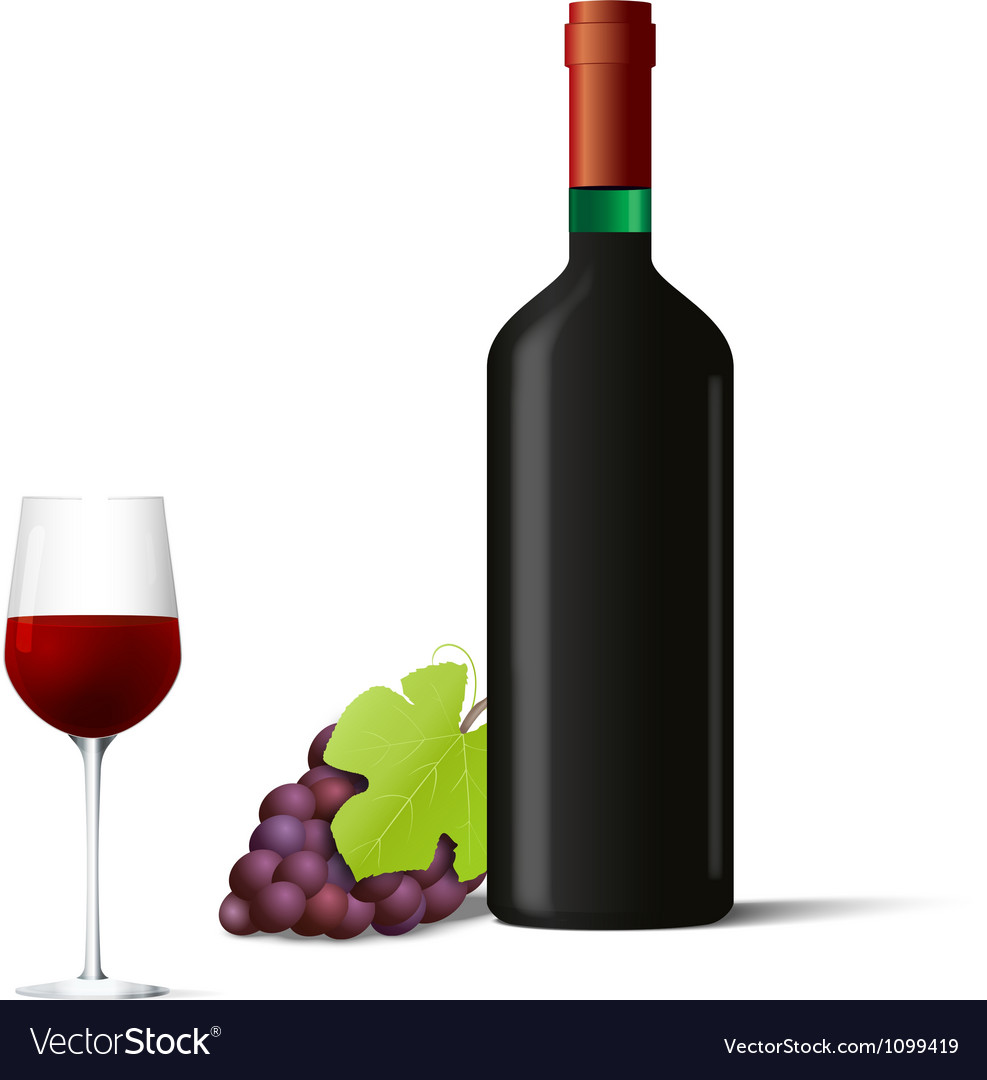 Red Vine Bottle With Gl And G Vector Image