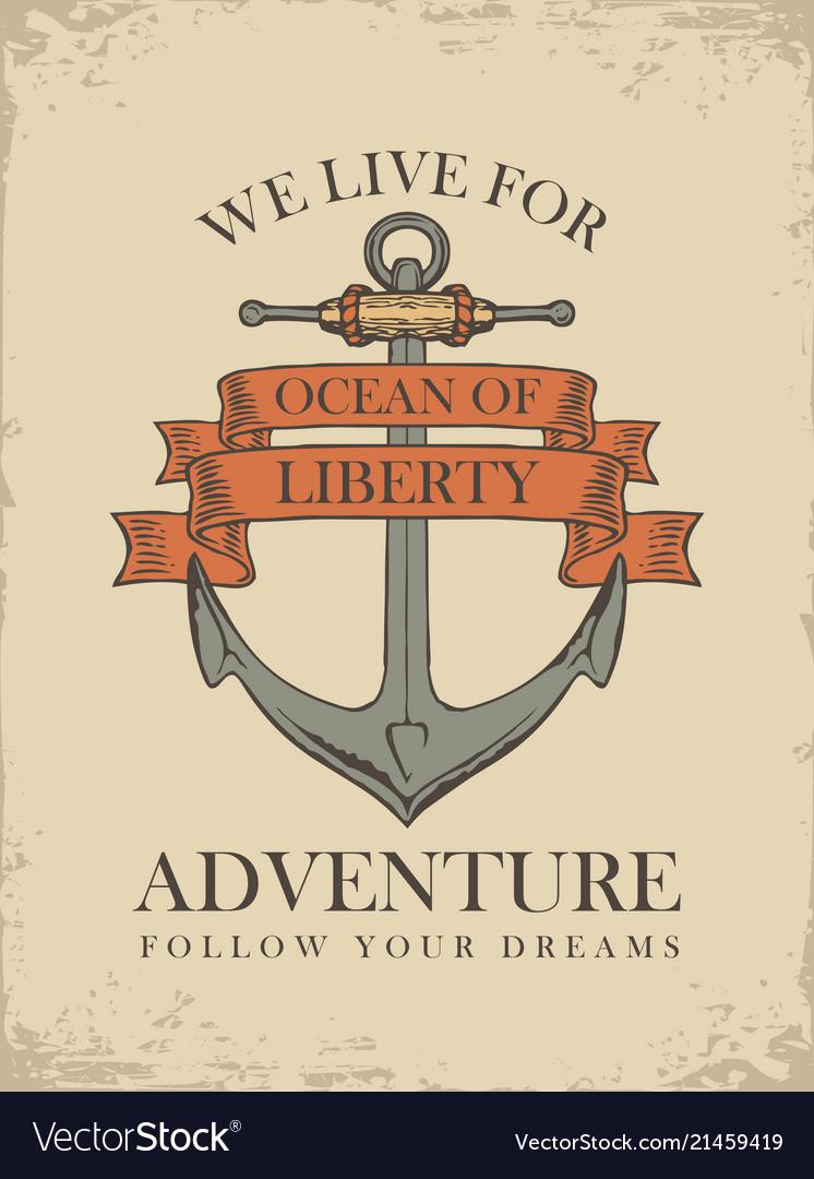 Retro travel banner with ship anchor
