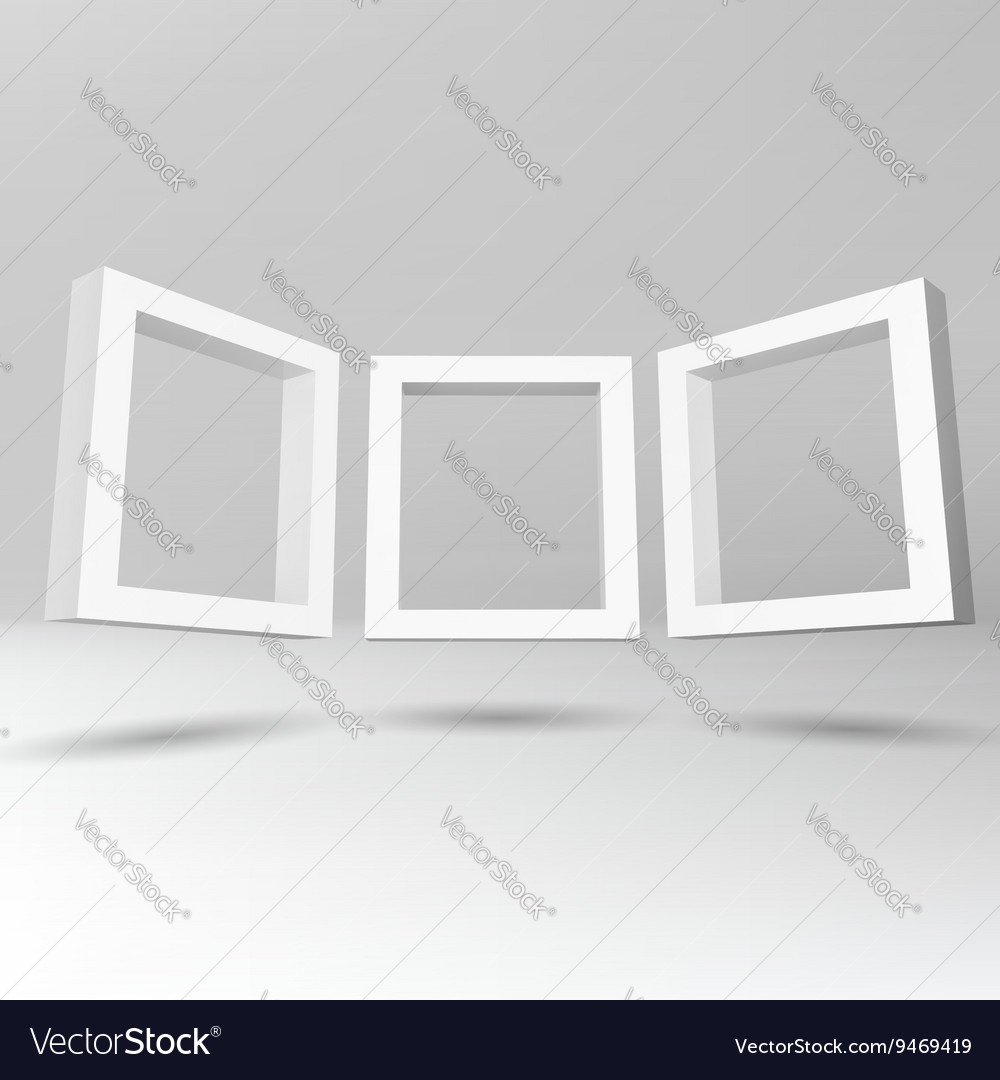 Three white rectangular 3D frames Royalty Free Vector Image