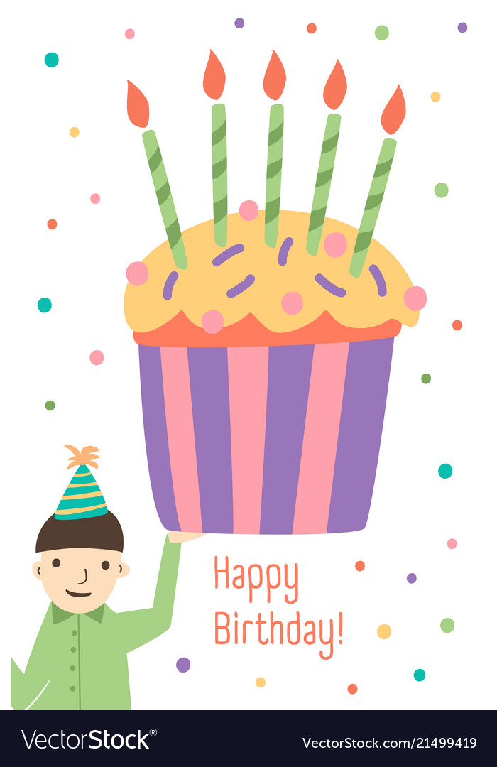 Vertical greeting card template with happy