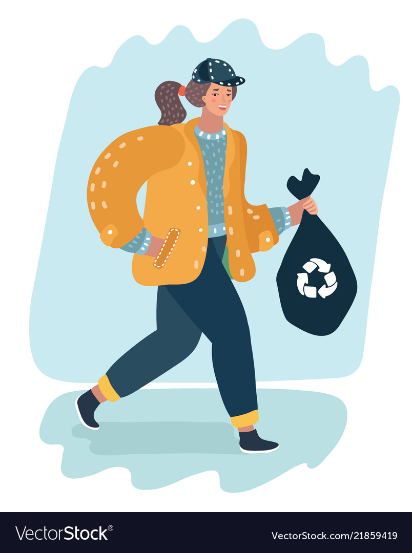 Woman holding trash bag recycle concept