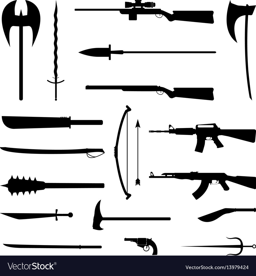 18 weapon icon medieval and modern
