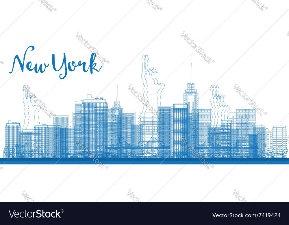 Abstract Outline New York City Skyline Royalty Free Vector