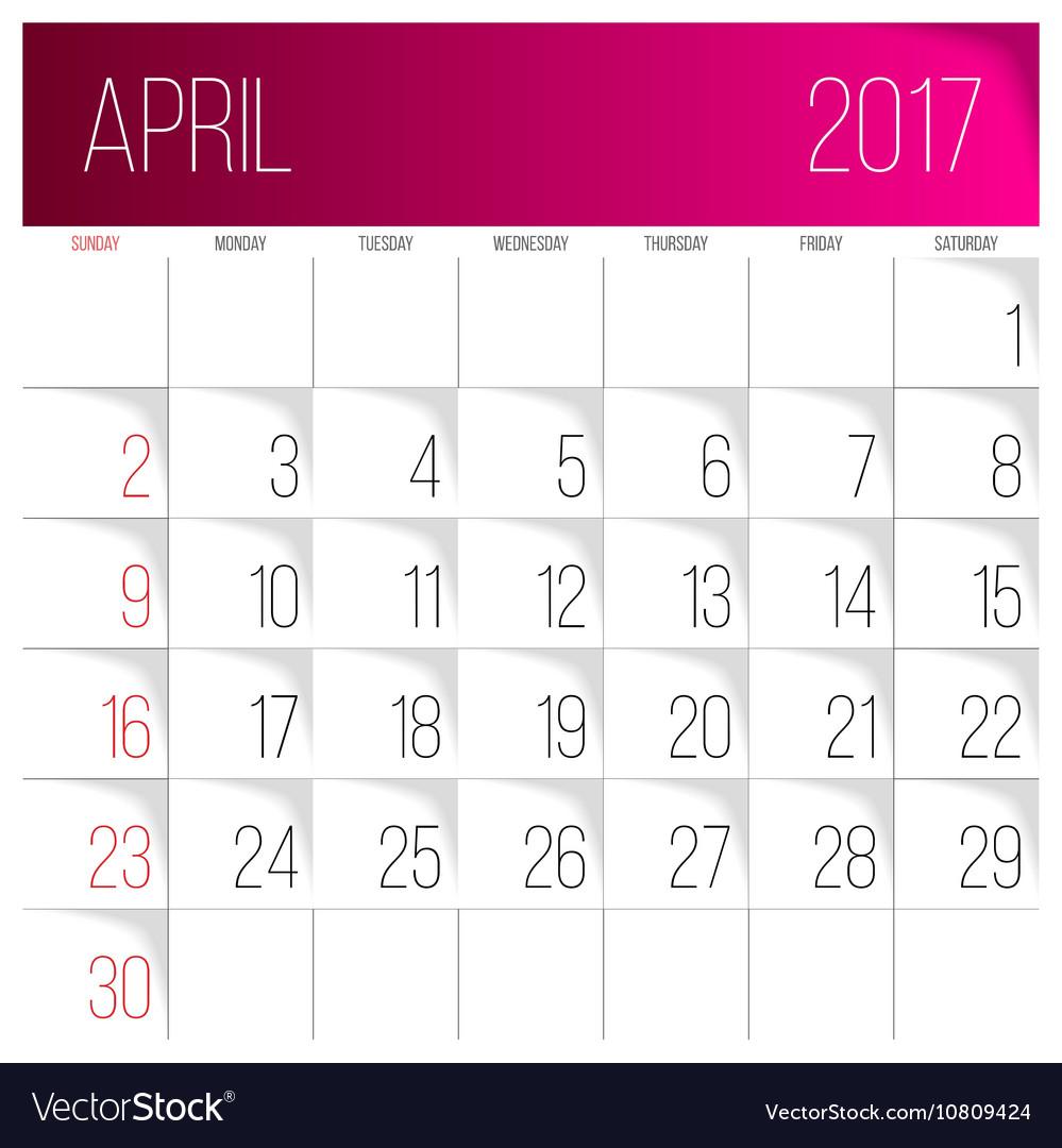 April 2017 Calendar Template Royalty Free Vector Image