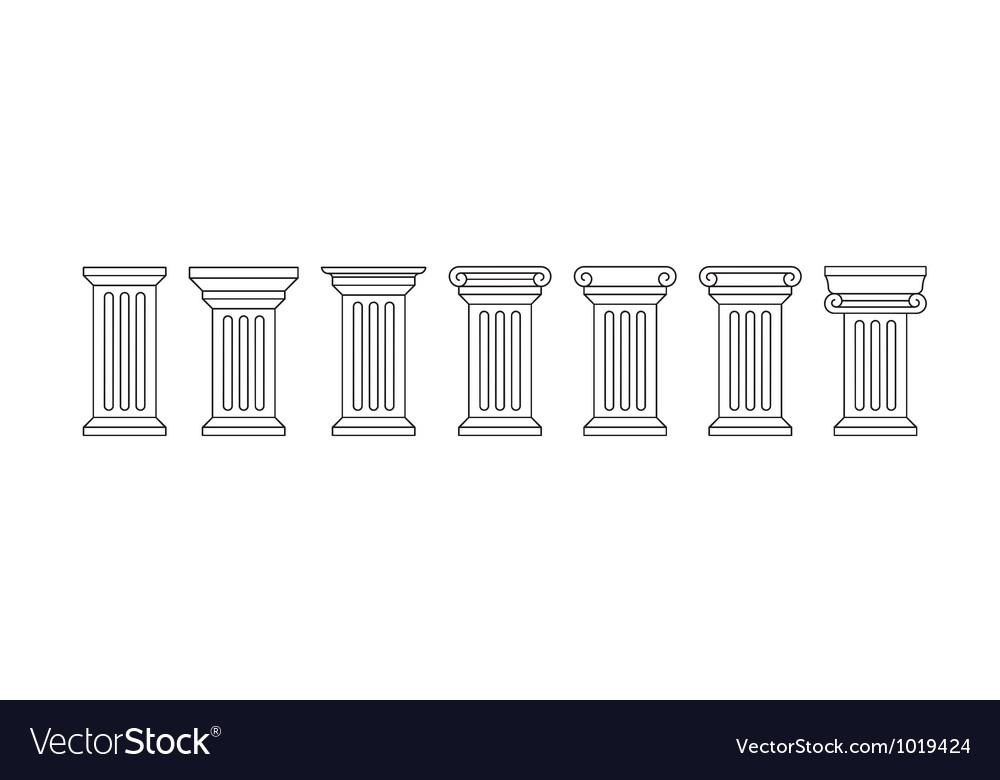 Classic column icon set