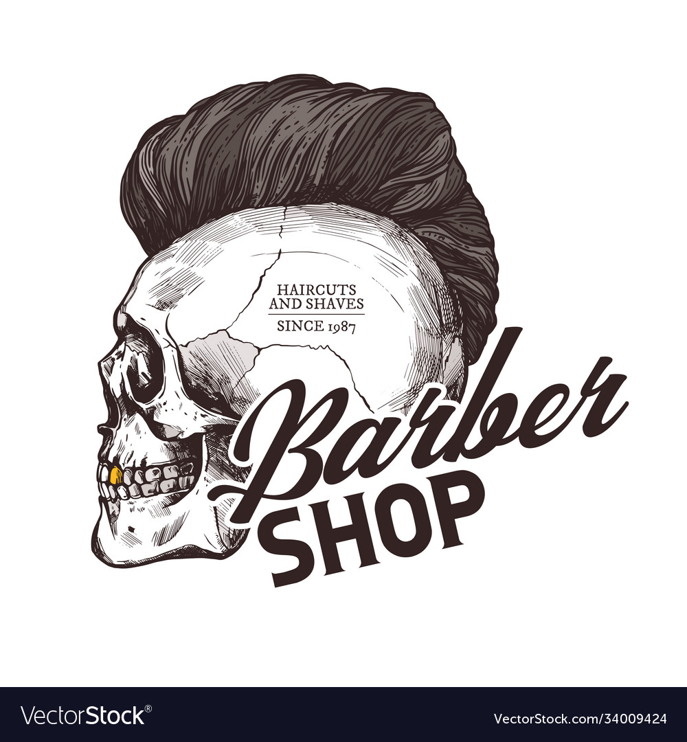 Engraving vintage barber shop label
