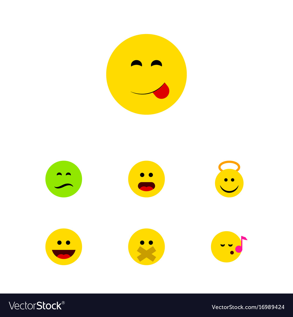 Flat icon face set of descant wonder frown and