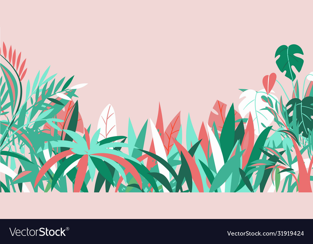 Grass background various summer tropical plants