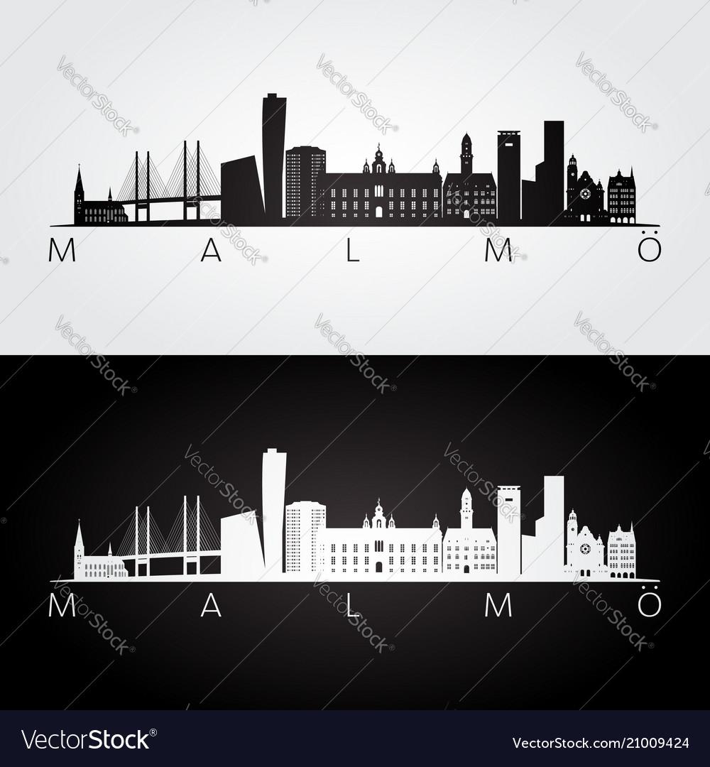 Malmo skyline and landmarks silhouette