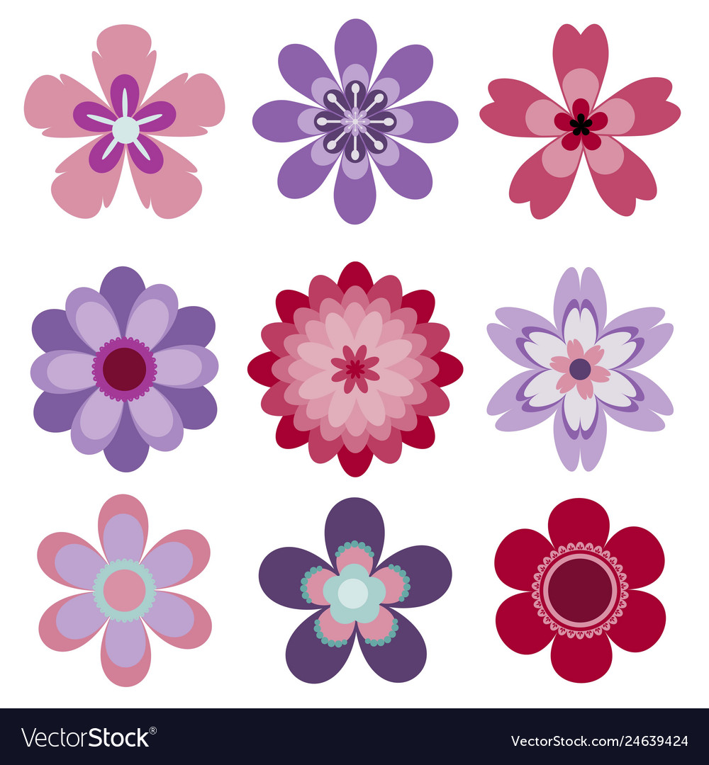 Set of 9 abstract isolated flowers