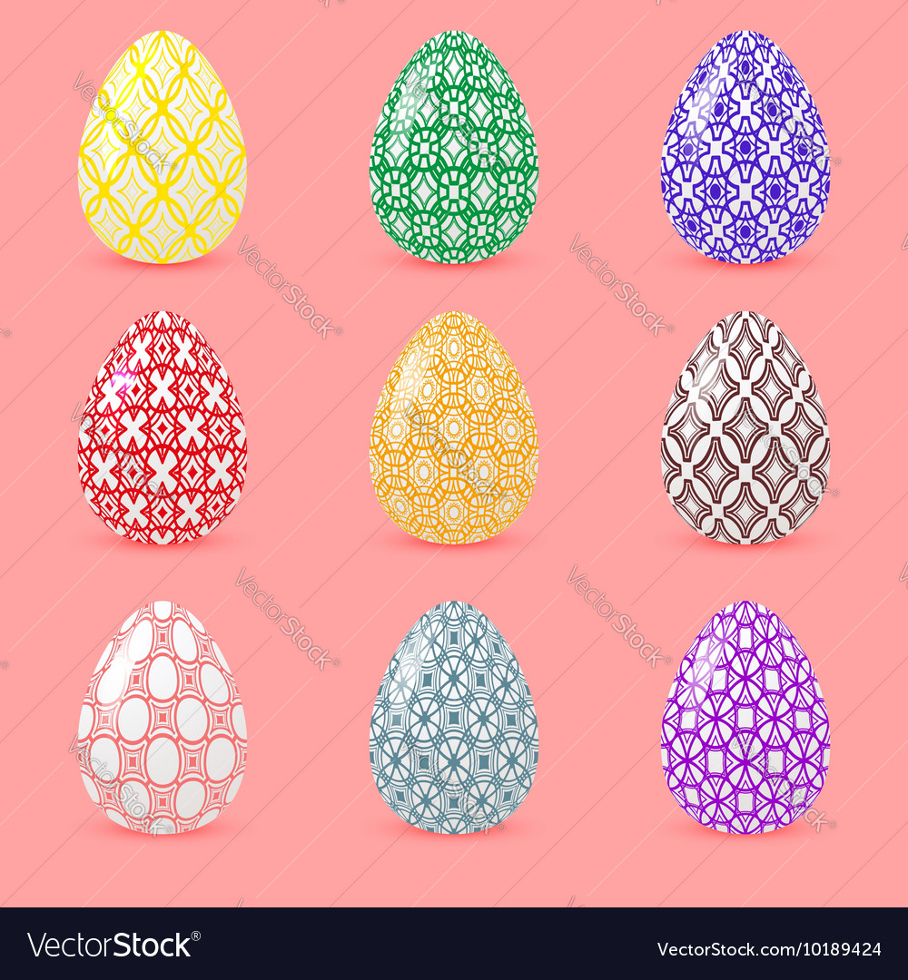Set of colored Easter eggs with geometric patterns