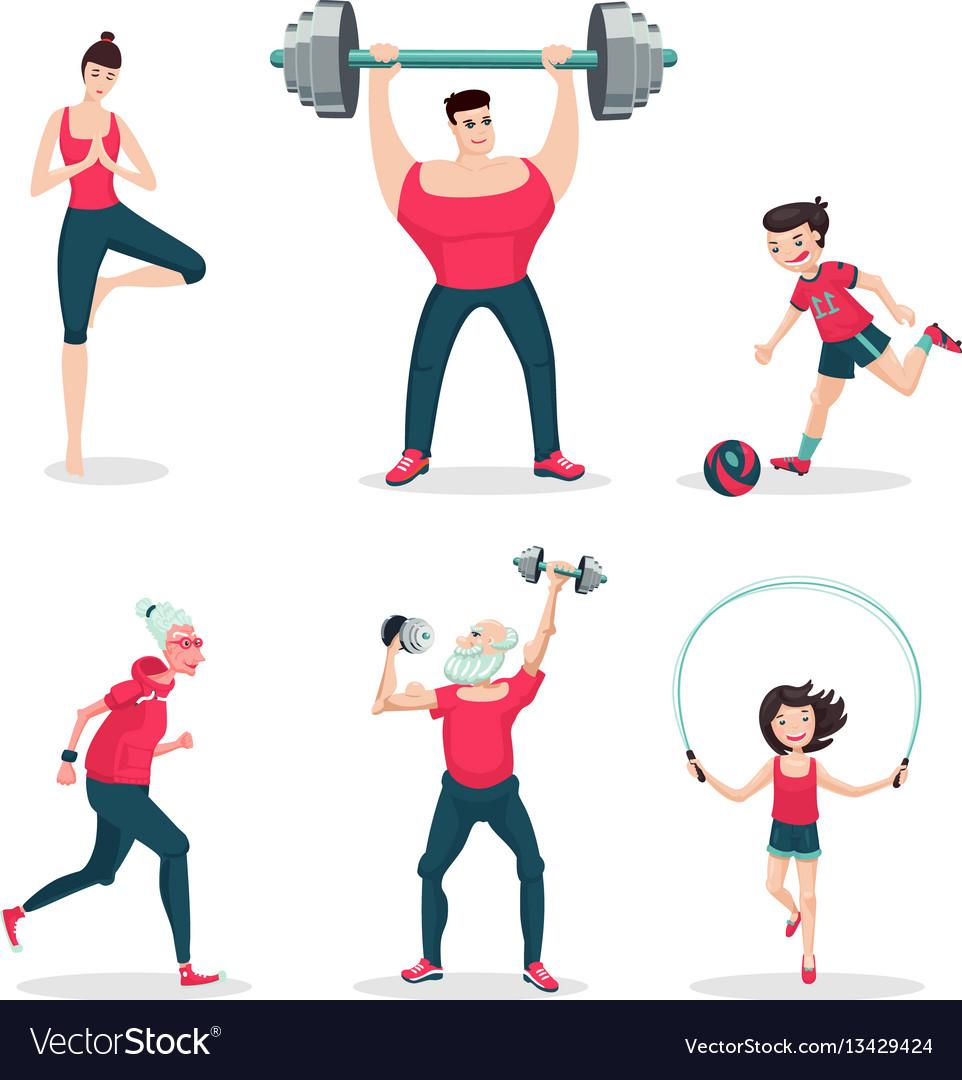 Sport family cartoon people icon set