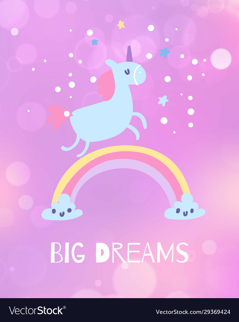Unicorn and dreams come true card