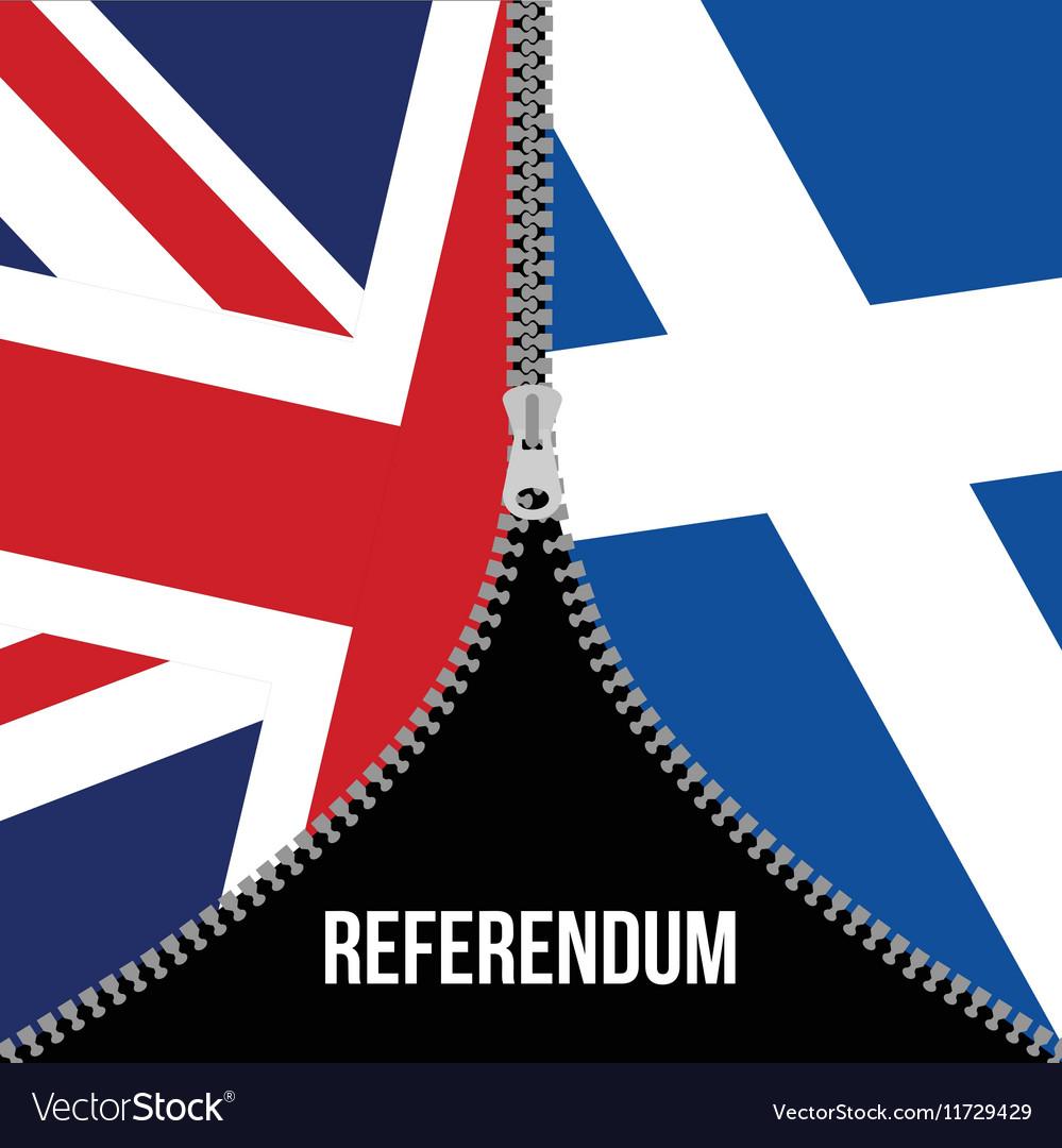 Brexit concept British flag Scottish flag vector image
