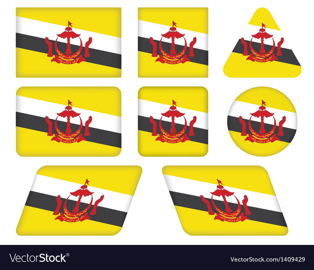 Buttons With Flag Of Brunei Royalty Free Vector Image