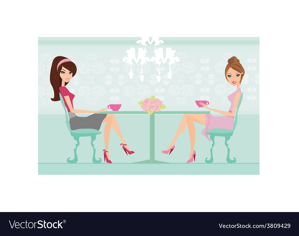 Cute pretty two young womans in coffee break vector image
