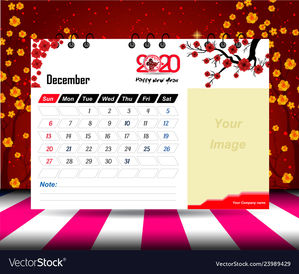 December 2020 Calendar For New Year Royalty Free Vector