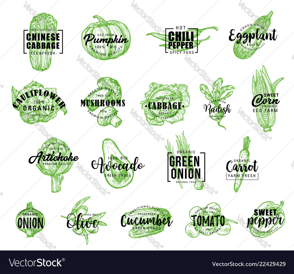Farm vegetables icons with lettering