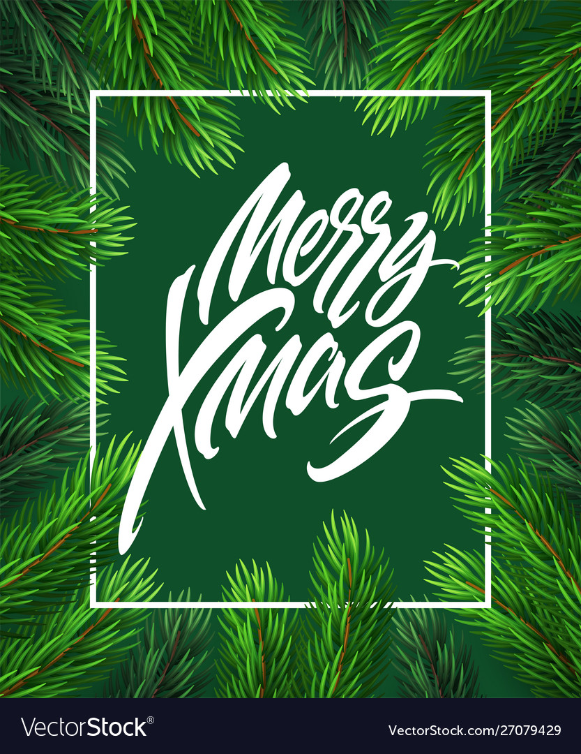 Merry christmas hand drawn lettering in