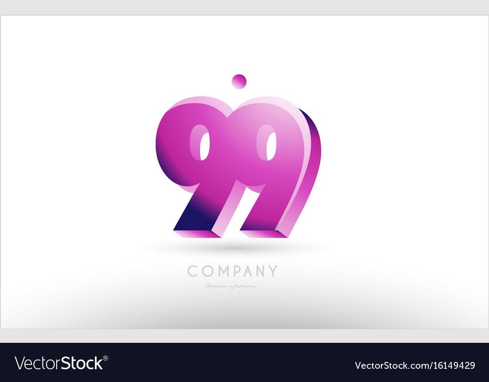 Number 99 black white pink logo icon design vector image