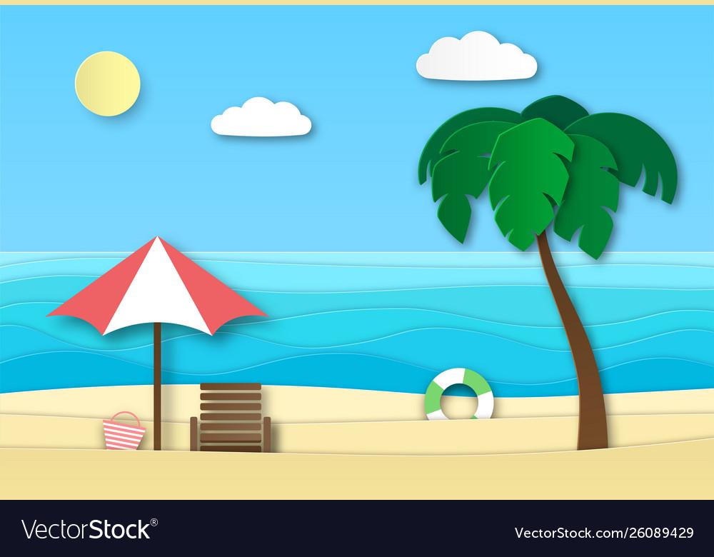 Origami sea beach summer vacation abstract