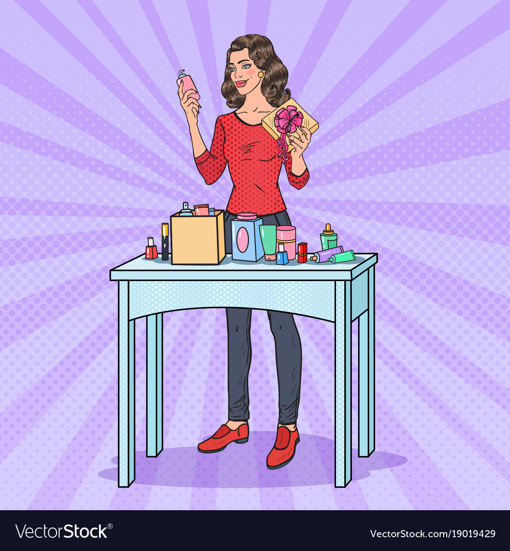 Pop art woman with gift box and cosmetics