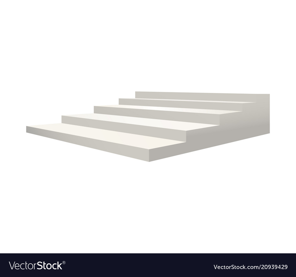 Realistic detailed 3d template blank white stair vector image