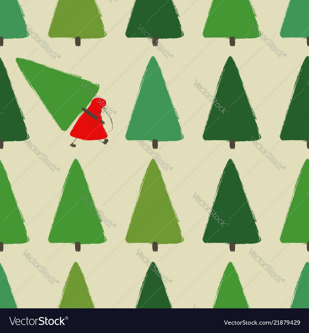 Santa stealing christmas tree seamless pattern