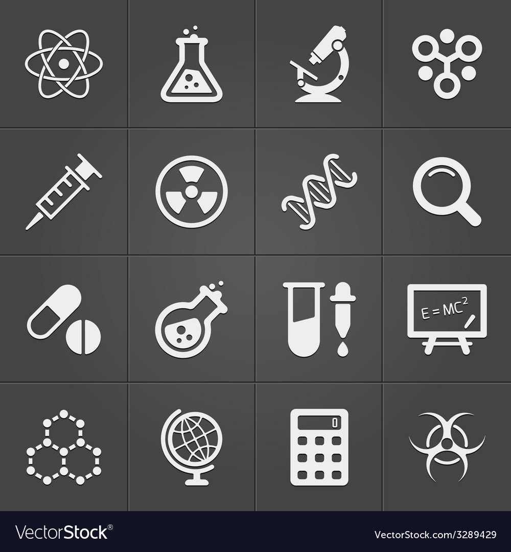 Science and physics related icons on black