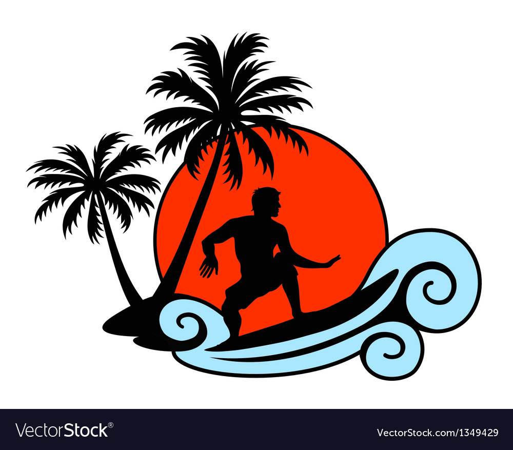 Surfer on a wave with palms and sunset vector image