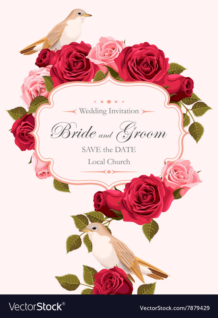 Vintage wedding invitation Royalty Free Vector Image