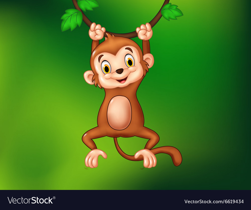 Cartoon funny monkey hanging on a vine vector image