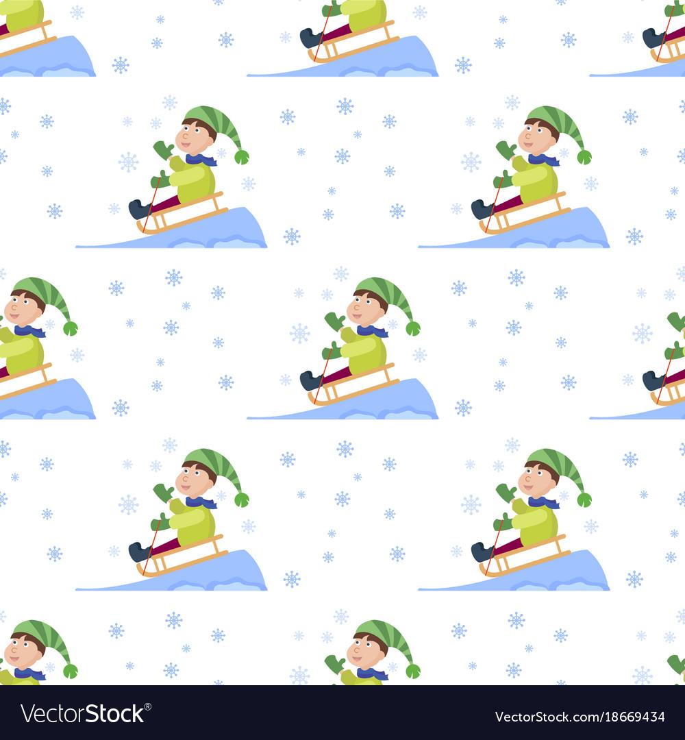 Christmas kids playing winter games seamless