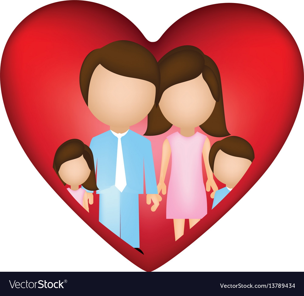 Family together inside of heart