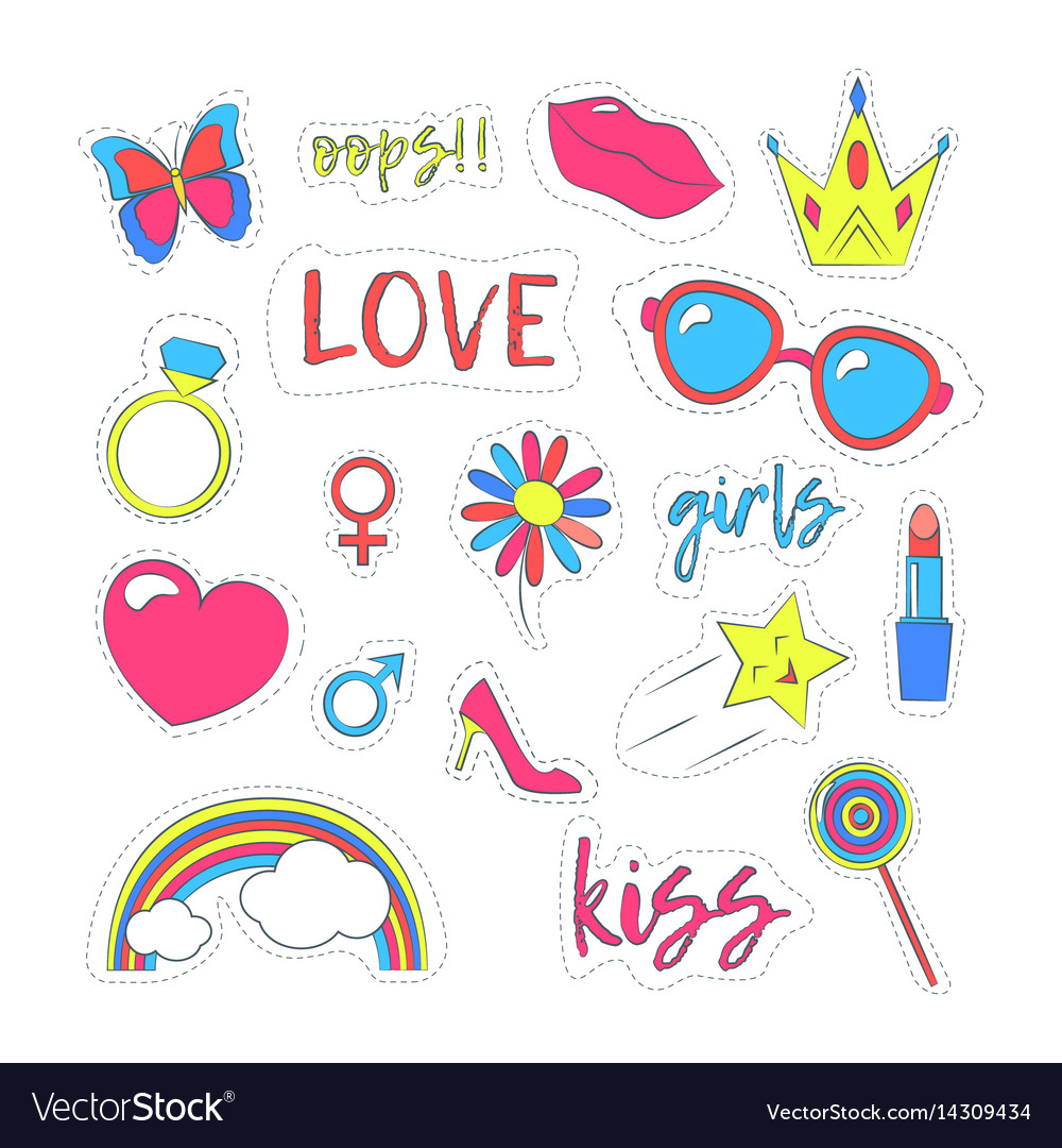 Girl patches sticker color set