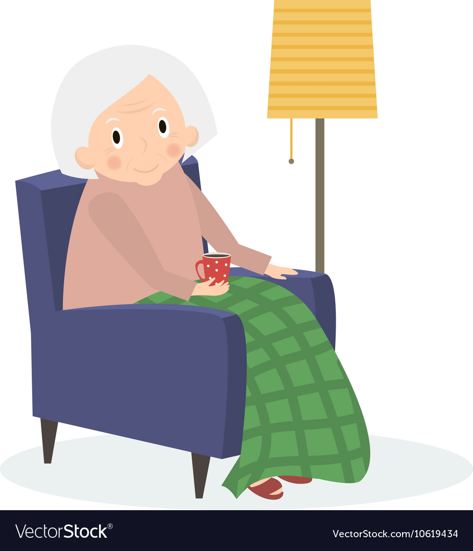 Grandmother sitting in armchair Old woman leisure