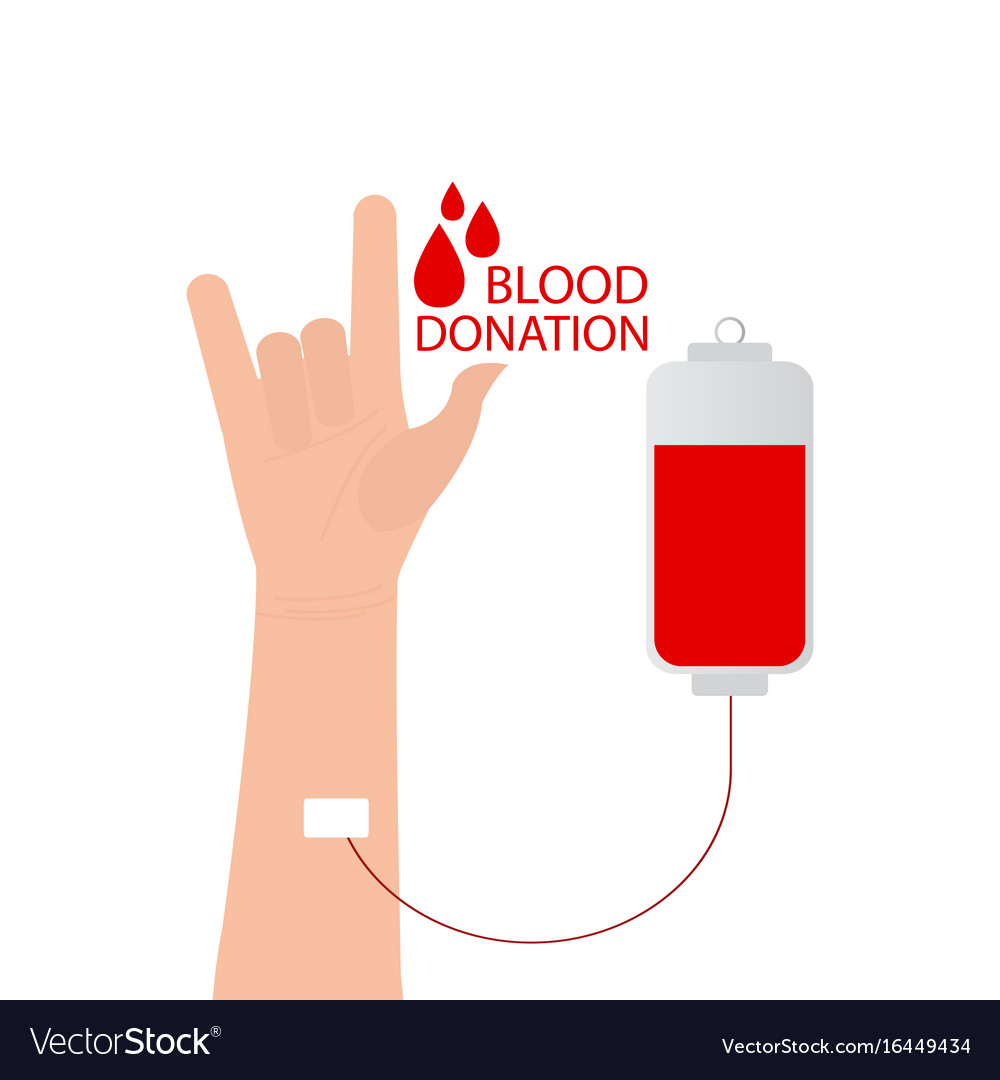 I love you language hand sign with blood donation